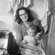 Marion, aged 42, with her youngest son, Tim, 1964