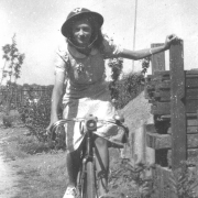 Marion, wearing an ARP warden steel helmet, probably gifted to her by Pete, who had a unique approach to gifts