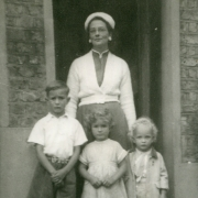 Marion with her eldest three children, (left to right) Christopher, Jane, Matthew. Circa 1954